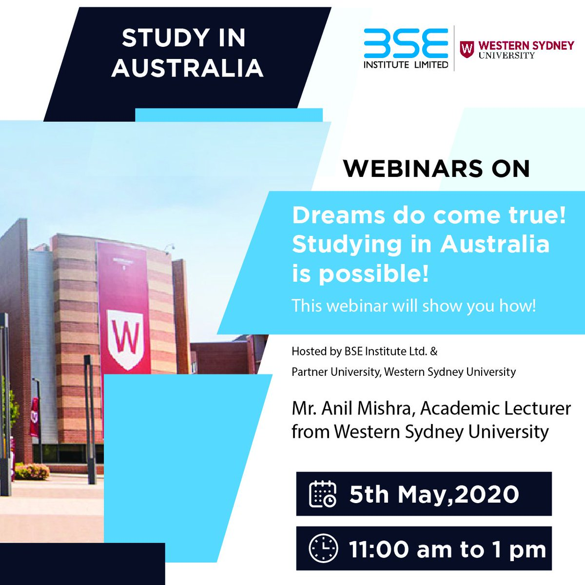 BSE Institute Ltd. is happy to announce a webinar for the students who are planning to study in Australia!  If you wish to be a part of this webinar, drop your email id in the comment below.    #bseinstituteltd #studyinternational pic.twitter.com/sQu2NYI5Vr