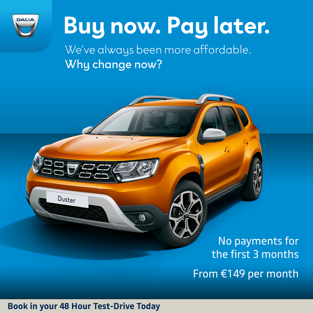 No payments on your Dacia Duster for the first 3 months with the Buy Now. Pay Later offer. 48-hour test drives now available. https://t.co/StEdwpGADr