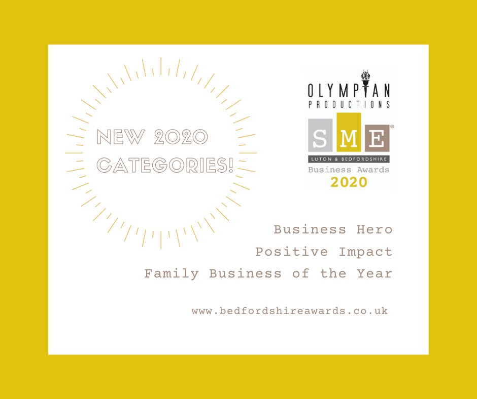 Introducing our new #SMELutonBeds #BusinessAwards 2020 categories! #BusinessHero #PositiveImpact #FamilyBusiness. To find out more about ALL of our categories visit our website: https://t.co/a5cwwco5T2 @Liebherr @StanairServices @Regus_UK https://t.co/HjIfS87Ecg