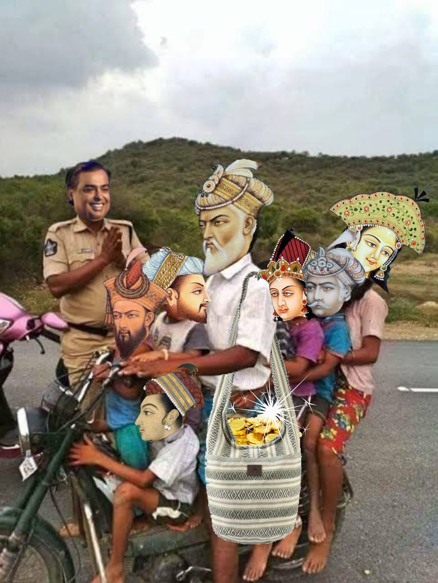 A poor hungry Indian welcoming Babur and his family at western border of India (1524, colorised). Babur arrived alongwith his gold and diamond reserves to make India rich. Source : Faved Fakhtars textbook of medevial and mordern India, 786th edition.