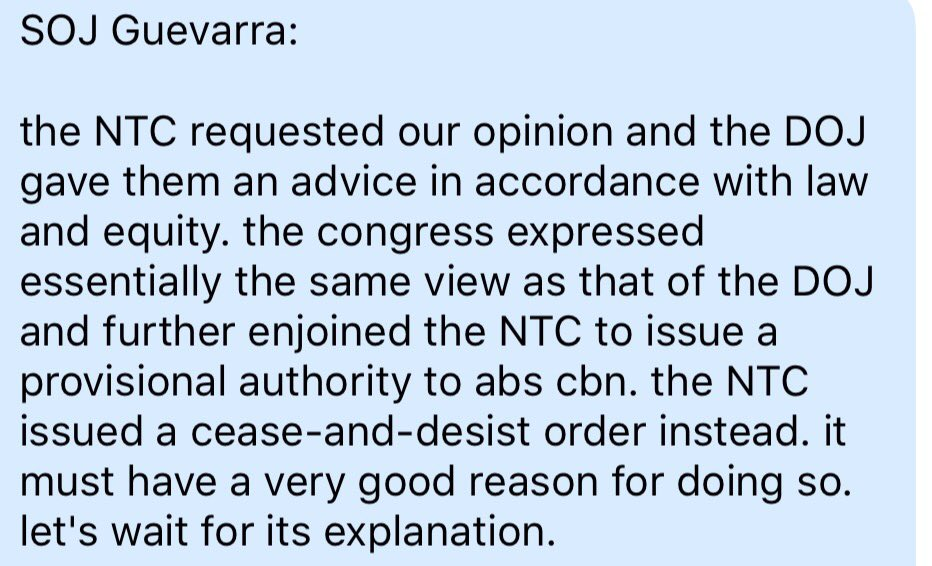 Justice Sec Menardo Guevarra on NTC cease and desist order vs ABS-CBN: It must have a very good reason for doing so. Let's wait for its explanation. | via @mikenavallo  #ABSCBNFranchise  https://t.co/nIKyk2ON8Z