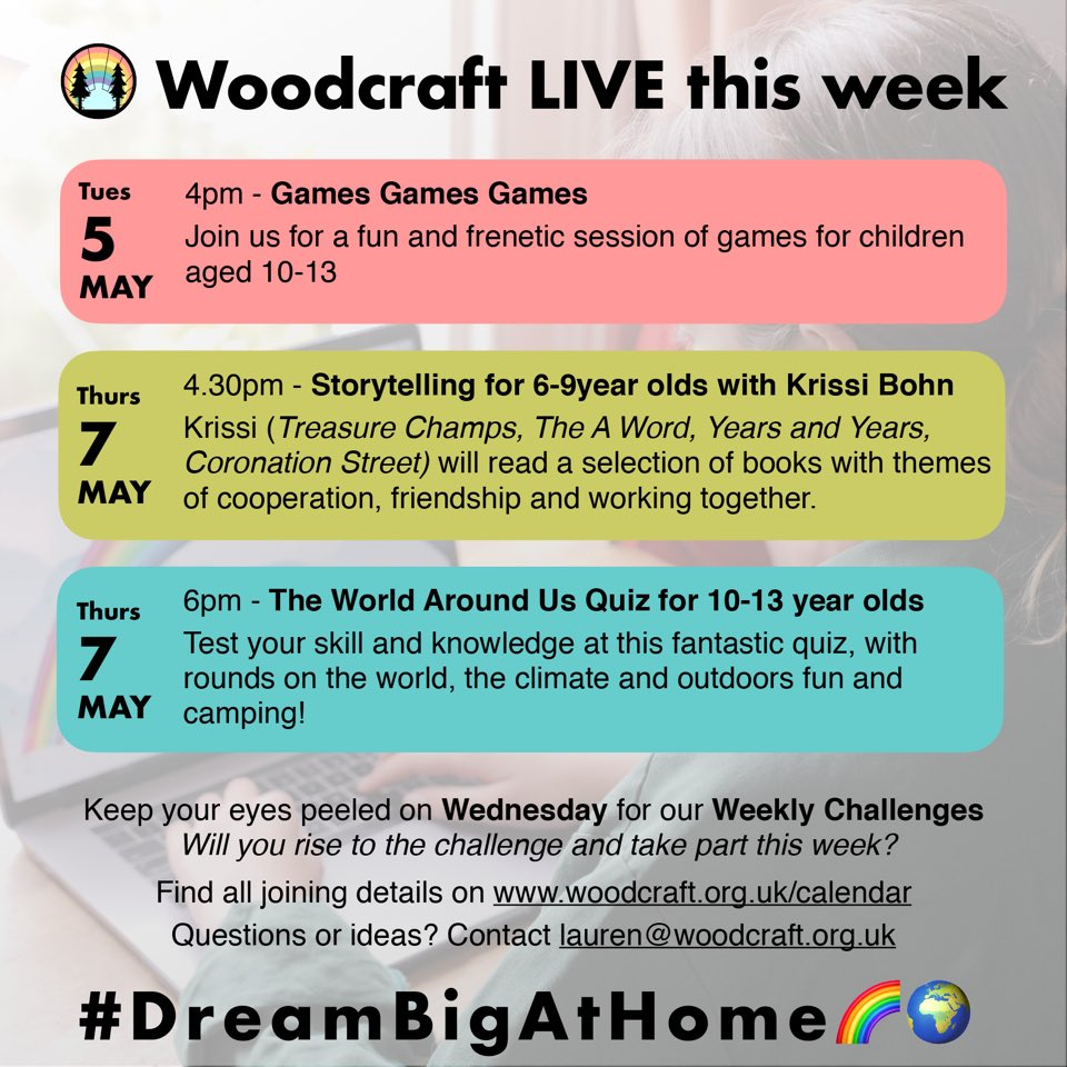 Coming up this week! Exciting and engaging sessions and challenges to take part in! Something for everyone of all ages including storytelling this Thursday from @KrissiBohner Visit our website for joining details woodcraft.org.uk/calendar