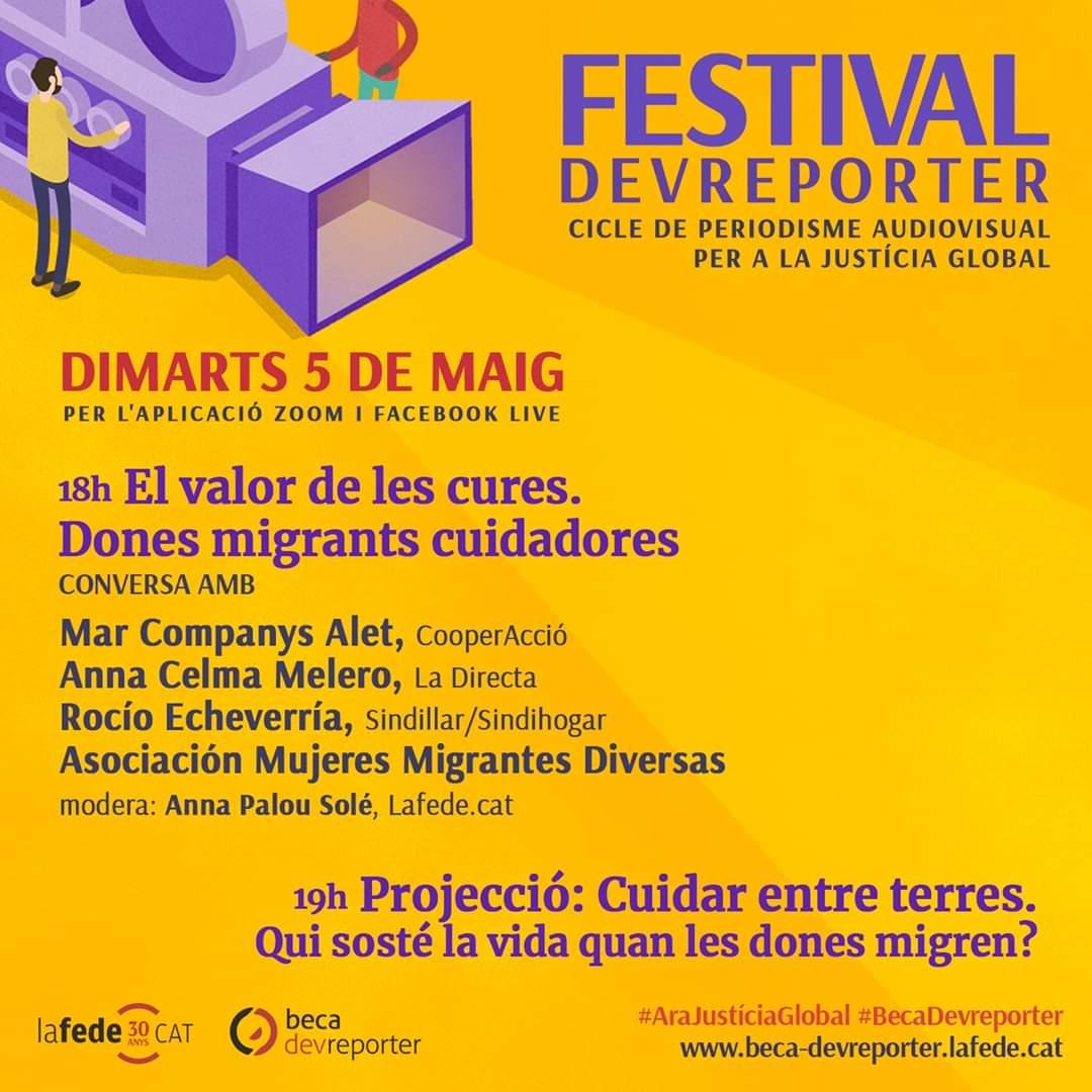 #Avui ‼️ A les 19h, 'Cuidar entre terres', dins del Festival #DevReporter.  Confinades sense remei, però us hi esperem amb ganes igualment💜 Accediu a la projecció i conversa prèvia (18h) amb @SINDILLAR, @MujeresMigrante, @La_Directa i @CooperAccio a través del FB de @Lafede_cat https://t.co/f2kfBVjUfN