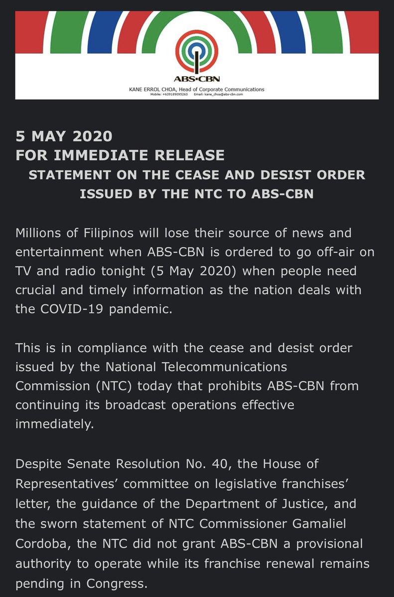 Official statement of @ABSCBN from @ABSCBNpr #NoToABSCBNShutDown