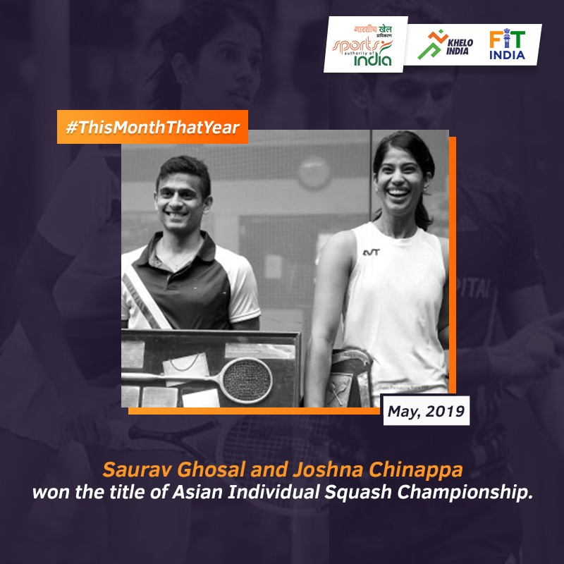 Making every move and ball count, @SauravGhosal and @joshnachinappa squashed India's squash history and rewrote it by winning the title of Asian Individual Squash Championships. What are your memories attached to this day? #ThisMonthThatYear @KirenRijiju @DGSAI @indiasquash https://t.co/pe8lV2am0K