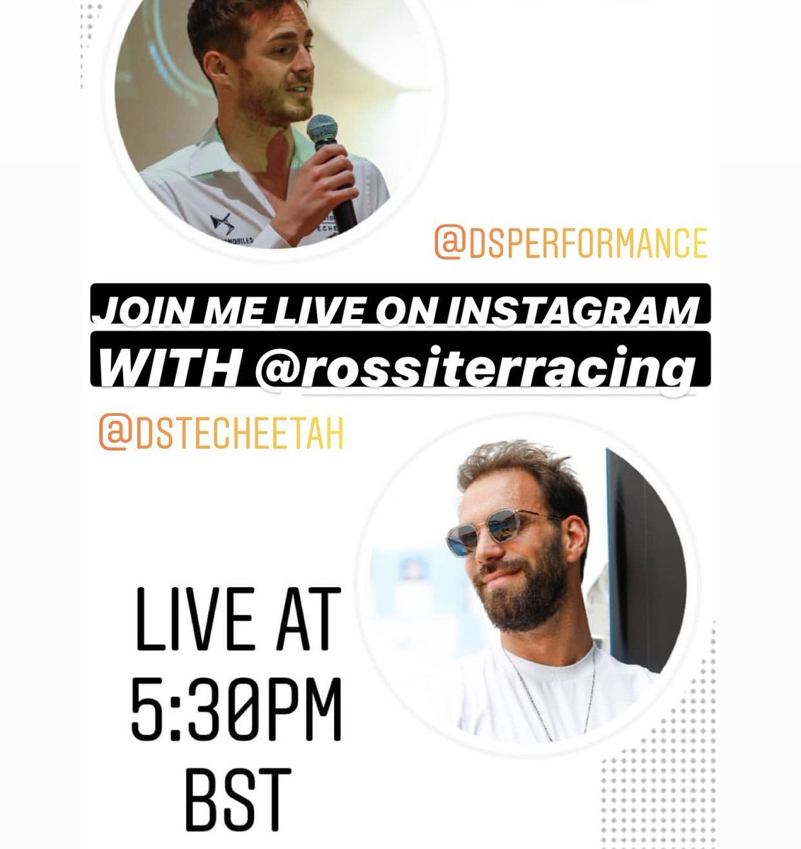 LIVE at 5:30PM BST on my Instagram & @DS_Performance with @Rossiterracing :  https://t.co/YVl2WCjMeb  #DSTecheetah #LIVE #InstaLive #ABBFormulaE #JEV25 #DSPerformance #DSAutomobiles https://t.co/cfFwKnaHnj