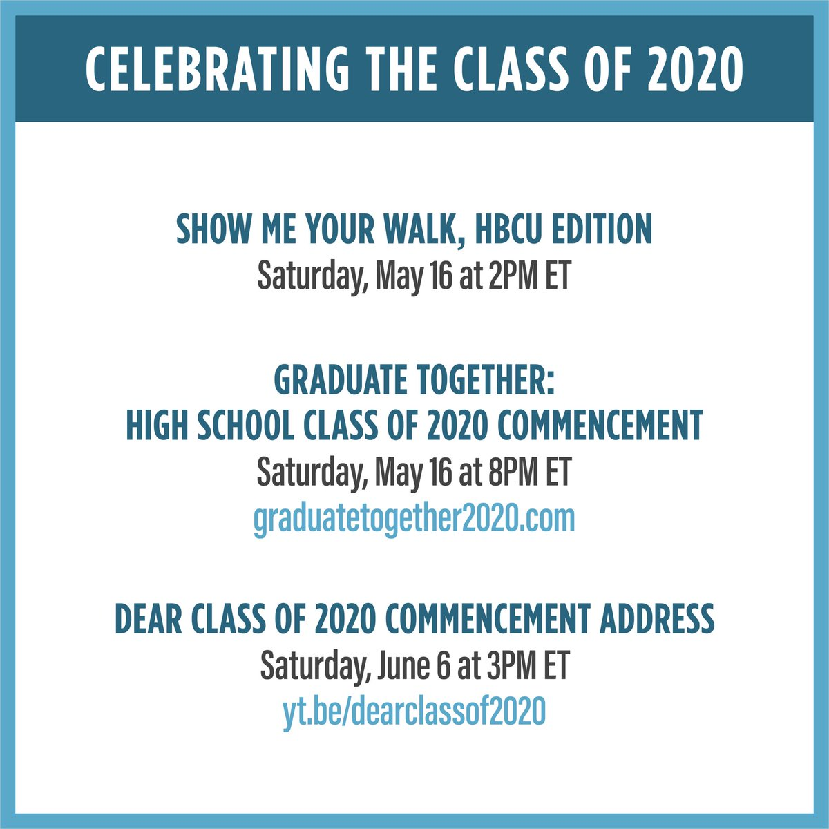 I've always loved joining commencements––the culmination of years of hard work and sacrifice. Even if we can't get together in person this year, Michelle and I are excited to celebrate the nationwide Class of 2020 and recognize this milestone with you and your loved ones. https://t.co/ngR2ykx3A2