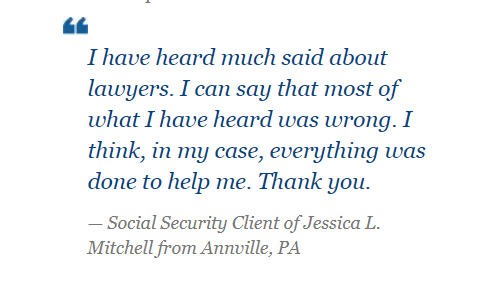 Read the latest review from a satisfied Social Security Disability client of Jessica L. Mitchell.pic.twitter.com/35hEf9gXWZ