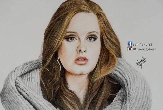Happy birthday to popular British singer & songwriter Adele ! Art by. Sanil Chitrakar