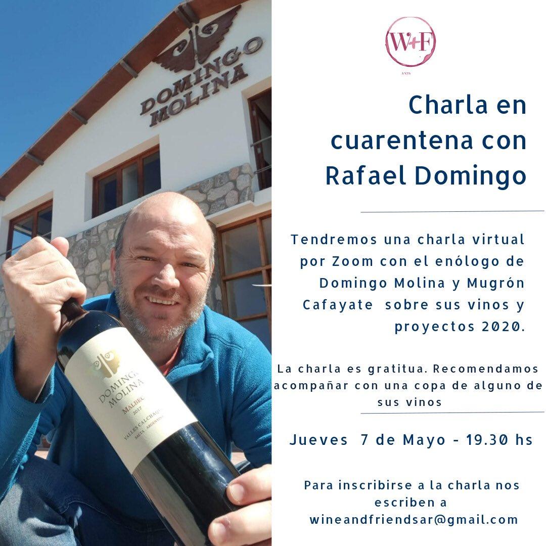Que tenes que hacer el #jueves #quedateencasa y escuchalo a Rafa @Dgo_Molina y @mugroncafayate por #zoom con @rdcafayate #winelover #wineandfriends #cuarentena pic.twitter.com/UIlUH6WyIN