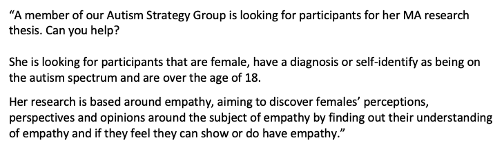 We are proud to be part of the local Autism Strategy group, and one of its members needs your help with research. The link to the questionnaire is: eSurv.org/?u=autism_empa… participants need to fill it out on a laptop or computer. Thank you. Please see image for details