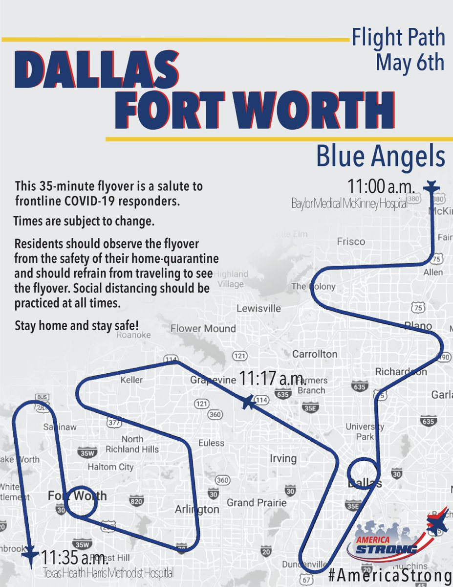Check out the @USNavy's @BlueAngels flight plan for #OperationAmericaStrong. Event begins at 11:00 AM tomorrow over @BSWhealth in #McKinney and will fly over #TX03 to Dallas. Be sure to practice social distancing while watching the fly over!
