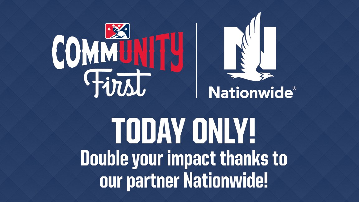 .@Nationwide is putting #MiLBCommUNITYFirst, matching donations to @FeedingAmerica today! Lets do this: bit.ly/3eVv67F #GivingTuesdayNow