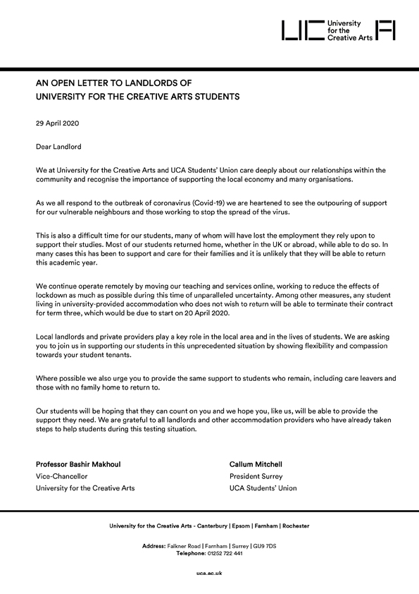 test Twitter Media - We have written an open letter with @UniCreativeArts to landlords of UCA students. Read it here: https://t.co/7xHVyoSbW5 https://t.co/XvSmH2ZdDH