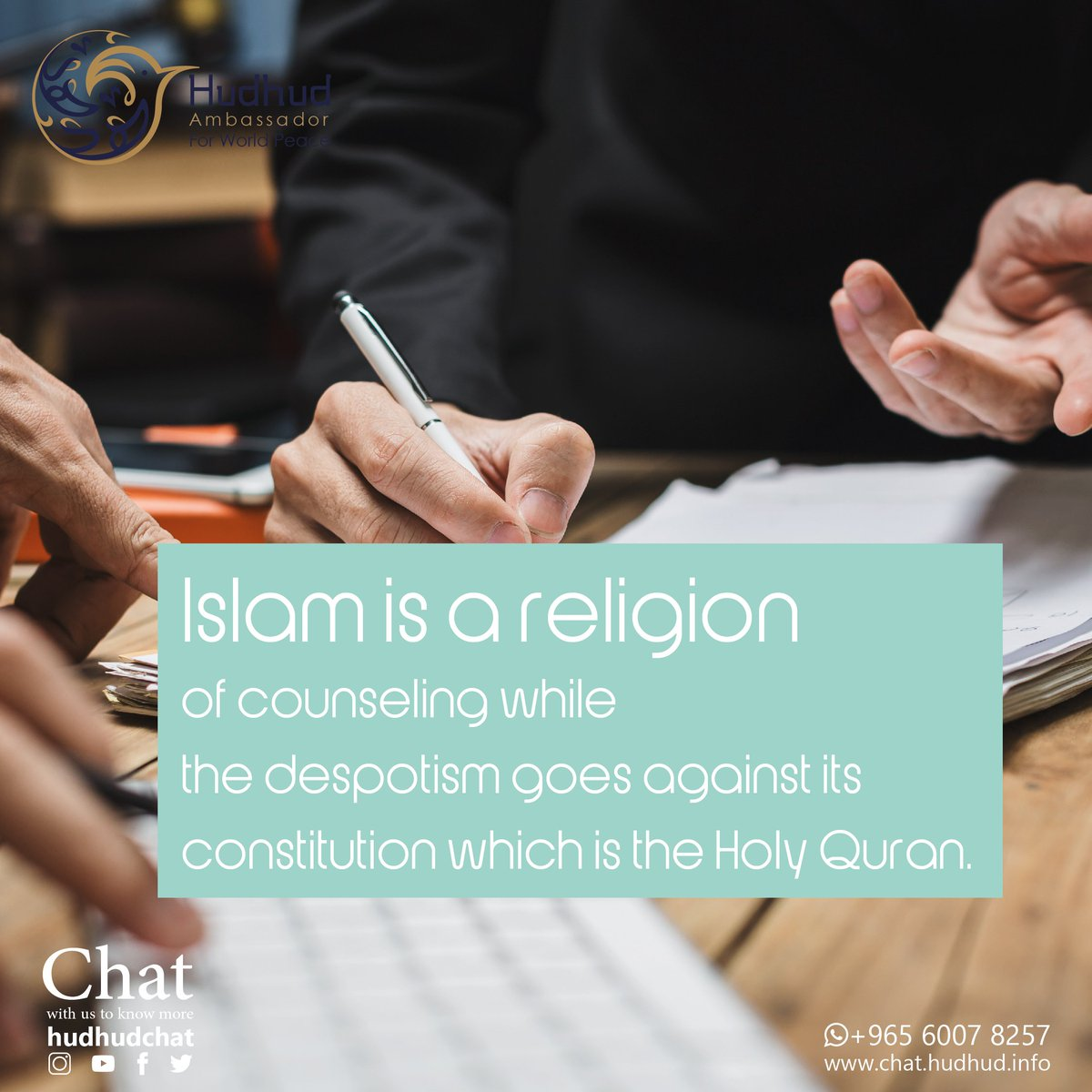 Islam is a religion of counseling while the despotism goes against its constitution which is the Holy Quran.  #HudhudChat #Islam<br>http://pic.twitter.com/qaTLQCCZlJ
