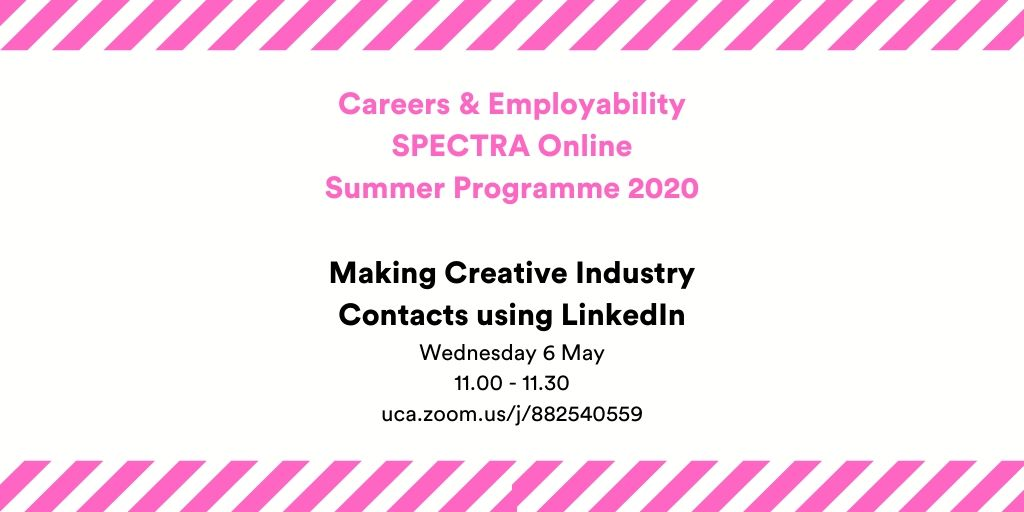 Tomorrow's webinar 11am Making Creative Industry Contacts using LinkedIn. You can join us from the comfort of your bed and don't even need to get changed!   Join us on Zoom https://t.co/6Uv8iCR9Mx Don't worry, we won't be presenting in our pjs :-) #ucacareers #wecreate https://t.co/r9M7X8xHKB
