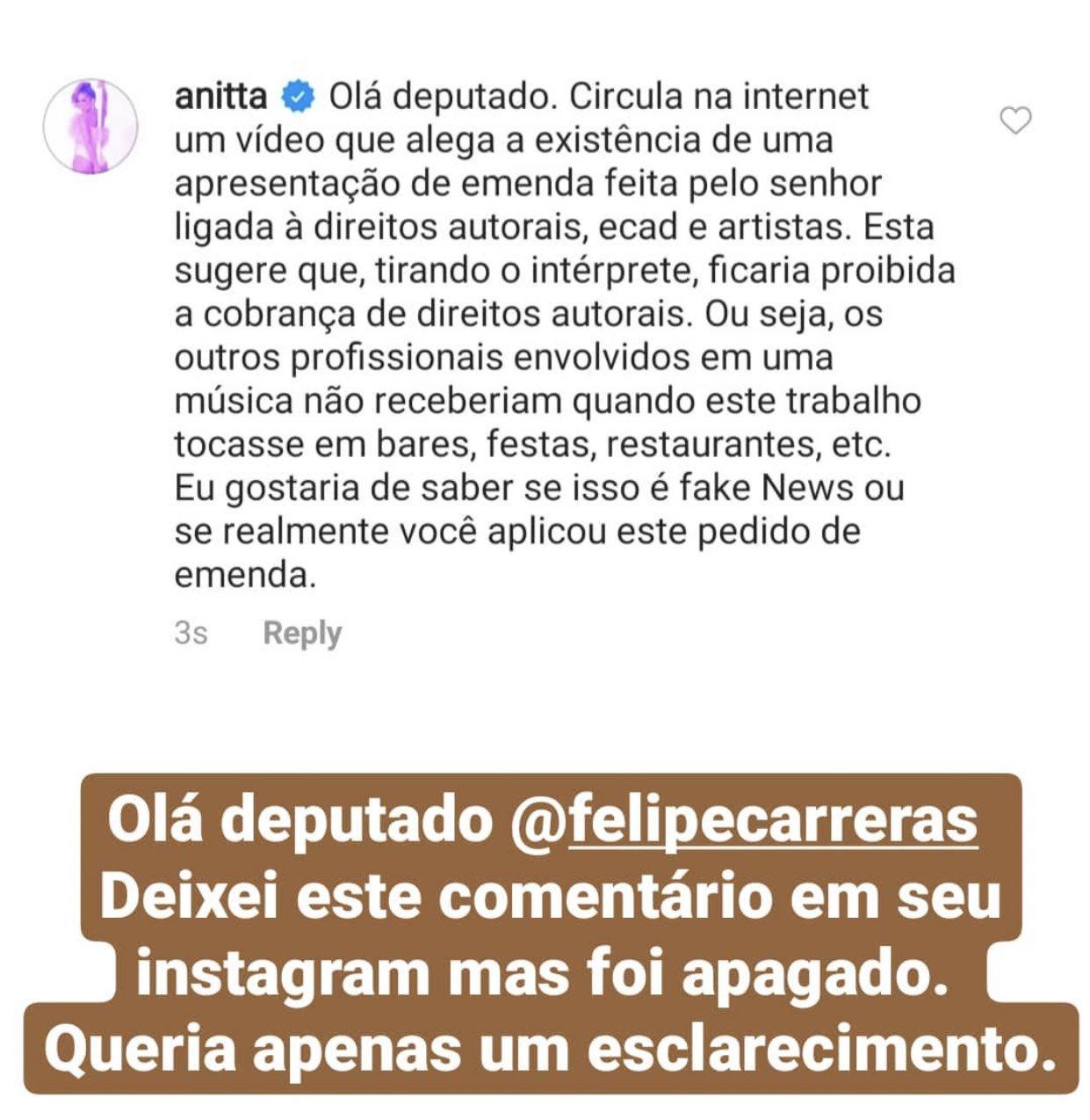 Anitta está revoltada com deputado e o convida para debate ao-vivo; entenda o motivo