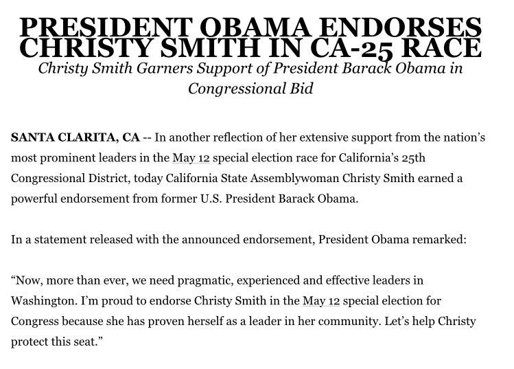In more #CA25 news, @BarackObama has endorsed @ChristyforCA25 twitter.com/aaronlarnavarr…