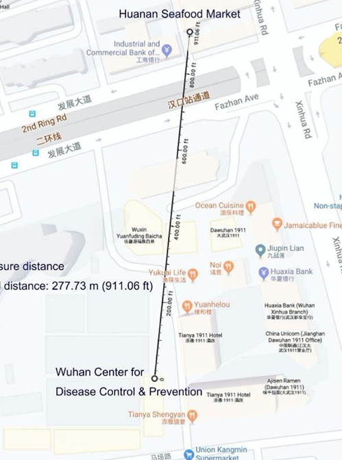 A map showing the location of the Wuhan CDC.  277 meters from the seafood market first named as the origin.