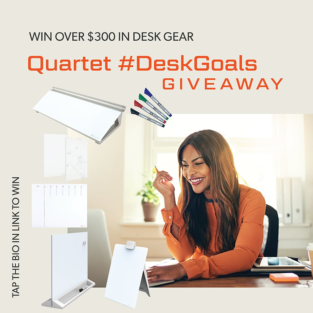 Show us your work-from-home setup and you could win a $300 prize pack of Quartet desktop glass products! Details at https://t.co/o9ID73xdSU #deskgoals #quartet https://t.co/8hCei4dMPF