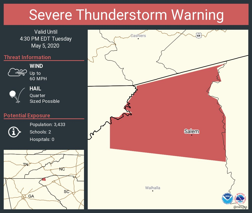 Severe Thunderstorm Warning continues for Salem SC until 4:30 PM EDT