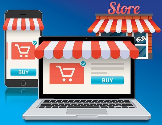 An image depicting a retail store and retail purchases through a website and a mobile app