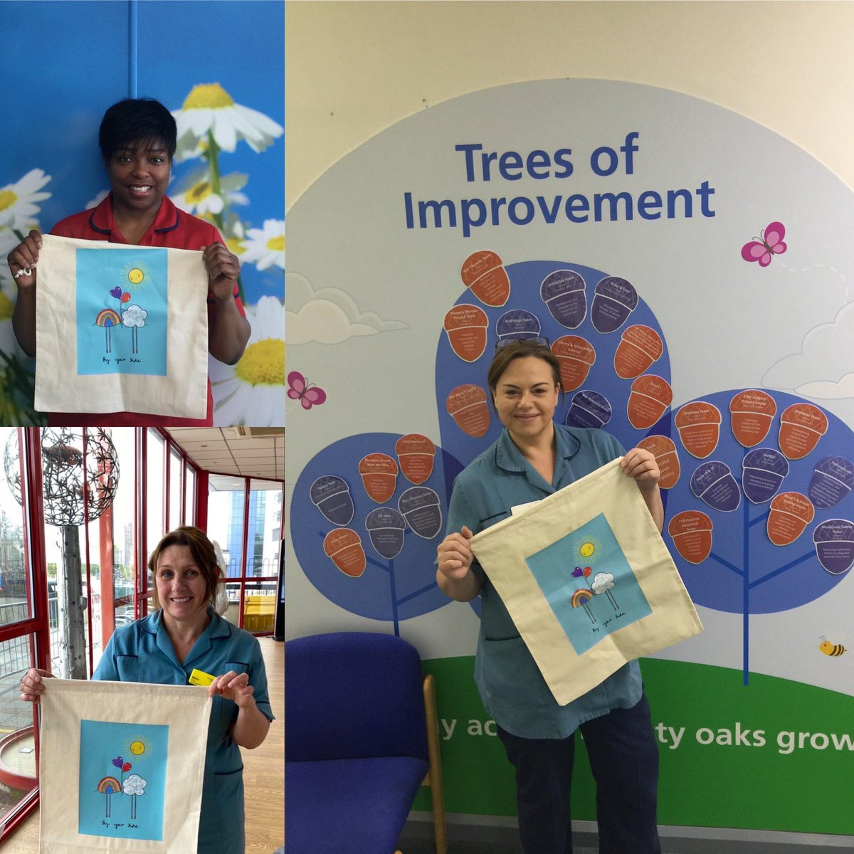 Thankyou @MarnieMakes for the amazing design on the lovely bags. Below are some grateful midwifery colleagues at Birmingham women's hospital @BWC_NHS @MarieFo28506679