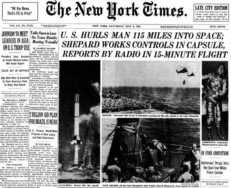 On this day in 1961: Alan Shepard becomes first American in space with a 15-minute suborbital flight. https://t.co/jnqwRN2alu
