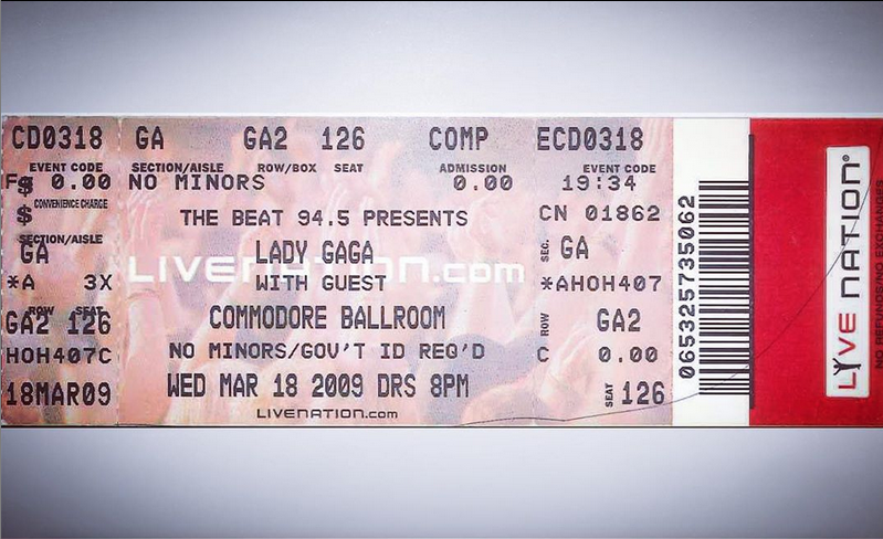 Almost unbelievable, really 🎫 #TicketStubTuesday bringing us back to small starts for huge stars on our stage. Were you there? Got a stub to share? Post your pics and tag us #CommodoreBallroom #LadyGaga #YVRConcerts @ladygaga https://t.co/4ysWM5Eo4u