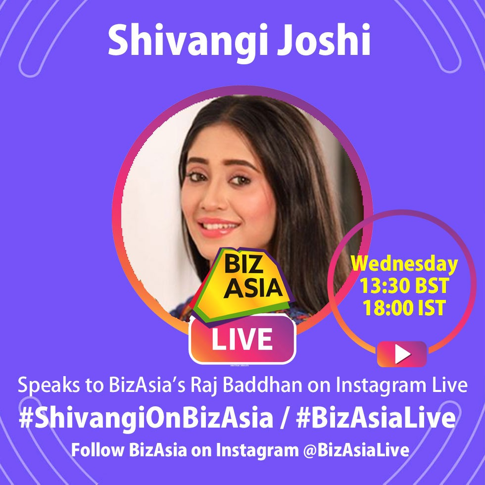Wednesday: Our rescheduled interview with the stunner #ShivangiJoshi presented by @RajBaddhan takes place on #BizAsia Insta at 13:30 UK / 18:00 IST - Tag Qs: #ShivangiOnBizAsia  Watch it: https://t.co/VVKfq5uSCT  #YRKKH #Naira #Kaira #StarPlus  #InstaLive @shivangijoshi10 https://t.co/FKDvPPZyyO