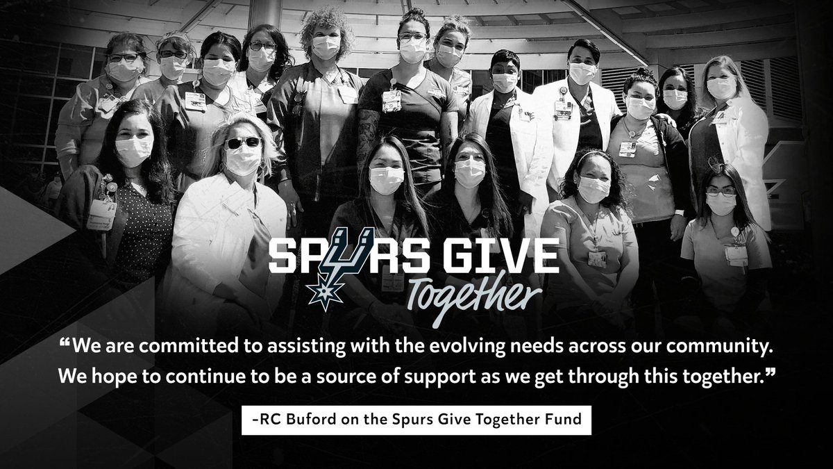 "Today, we launched the Spurs Give Together Fund intended to support first responders, inspire local commerce, and provide for families directly impacted by #COVID19 through local nonprofits. 👏  To donate ➡️https://t.co/bjTnUofBPf or text ""SpursTogether"" to 41444 https://t.co/pMO8wCNXaB"