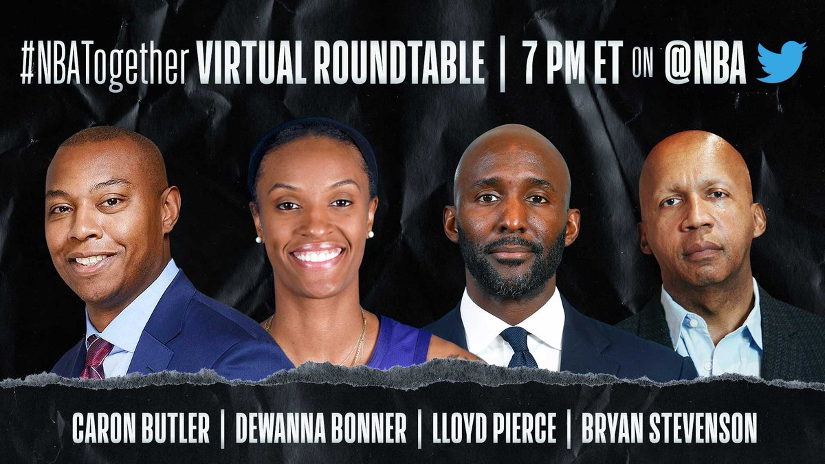 Tune in to #NBATogether Virtual Roundtable tonight at 7 PM ET on @NBA as Caron Butler (@realtuffjuice) discusses the COVID-19 outbreak inside the correctional system with @DEEBONNER24 of the @ConnecticutSun, @ATLHawks Coach Lloyd Pierce, & @eji_org's Bryan Stevenson. https://t.co/lMvU4DB85r