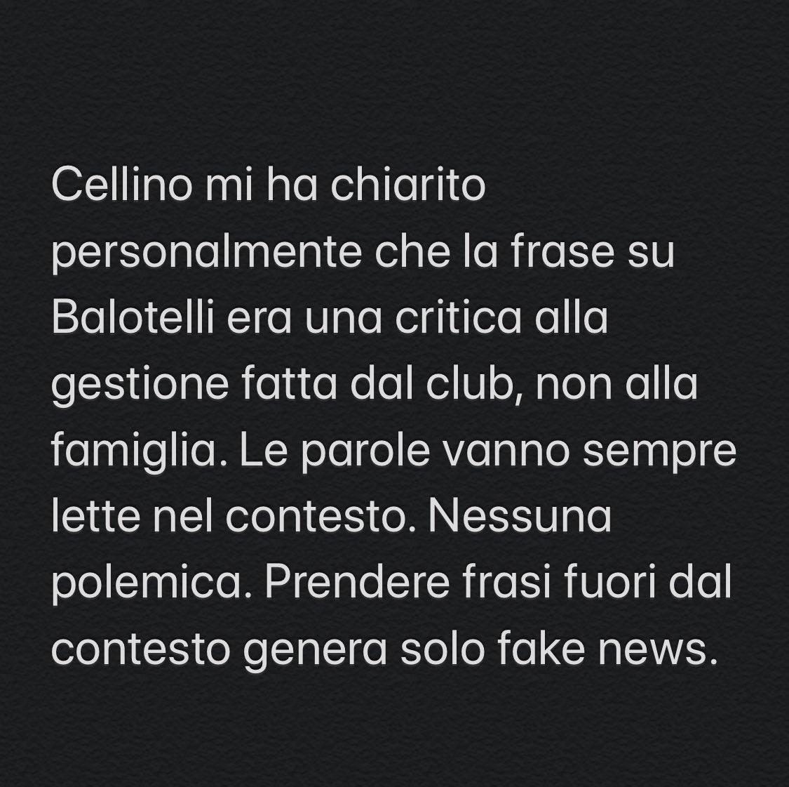 Cellino mi ha chiarito personalmente che la frase su Balotelli era una critica alla gestione fatta dal club, non alla famiglia. Le parole vanno sempre lette nel contesto. Nessuna polemica. Prendere frasi fuori dal contesto genera solo fake news. @FinallyMario https://t.co/taJyQUZ9fy