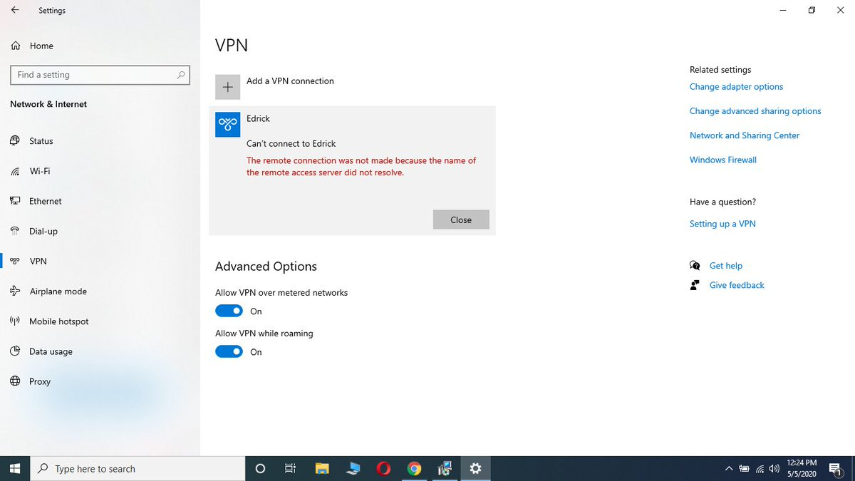 EXRv08jXYAACtqd - Vpn Name Of Remote Access Server Did Not Resolve