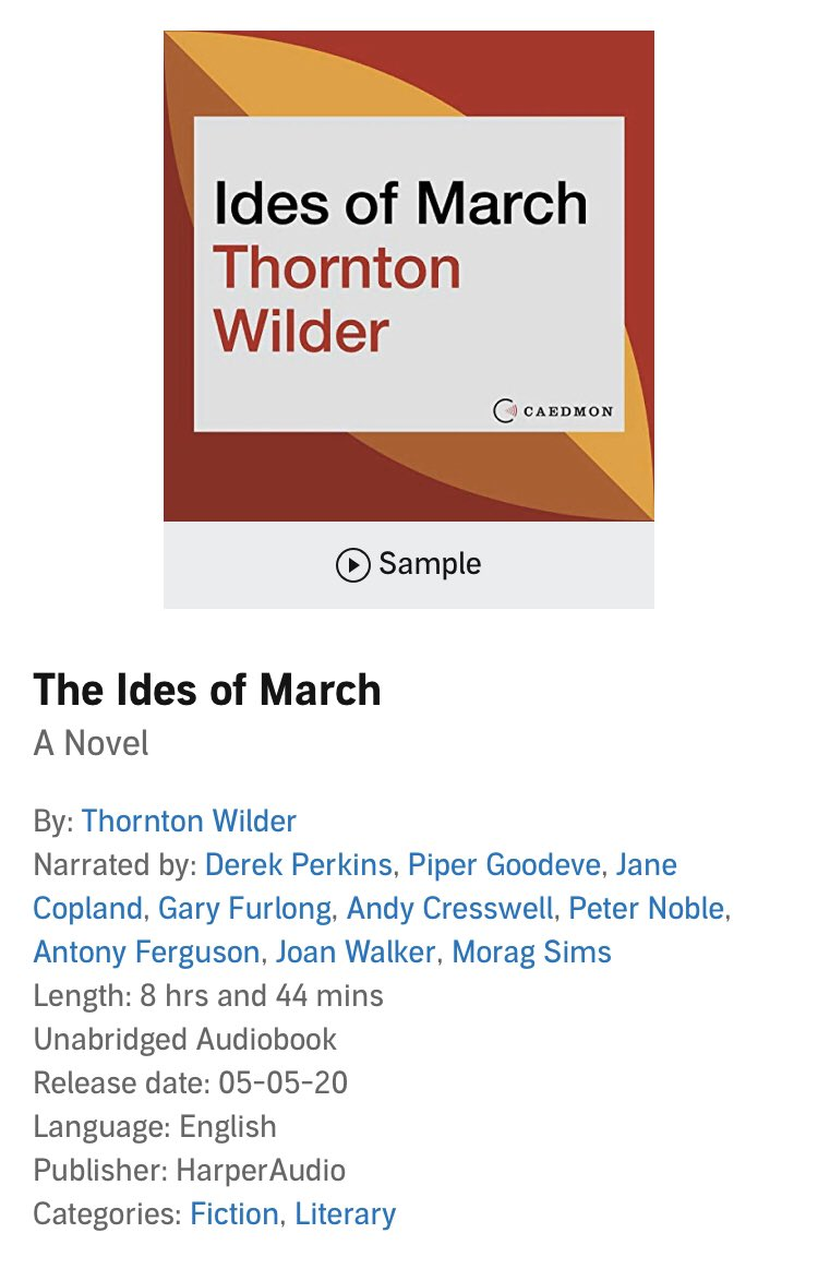Release day! What a total dream to play Cleopatra in this epistolary novel by Thornton Wilder. Thank you @HarperAudio @CaitlinGaring and Barbara Hogenson. Available on @audible_com today! #audiofilemag #cleopatra #caesar #bewaretheidesofmarch #audiobooks https://t.co/xIkCWlCTp2