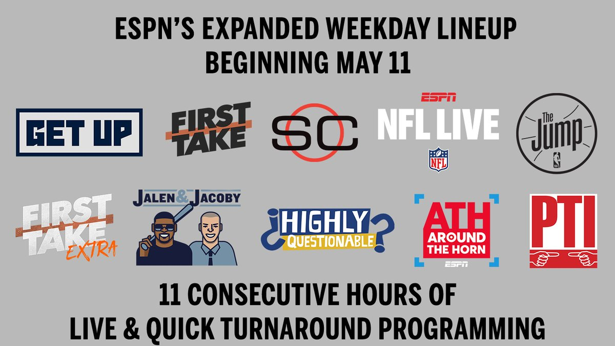 ESPN's expanded weekday lineup begins May 11, featuring 11 consecutive hours of live & quick turnaround programming  More: bit.ly/2W7mWBS