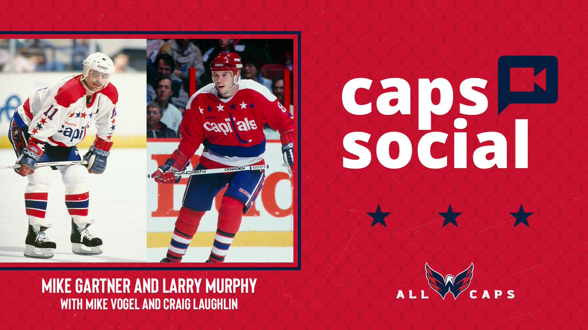 FINAL REMINDER!   One hour til this week's #CapsSocial with two members of the @HockeyHallFame - Mike Gartner and Larry Murphy!  Tune in right here LIVE on Twitter! https://t.co/bkZuQtd9Sy