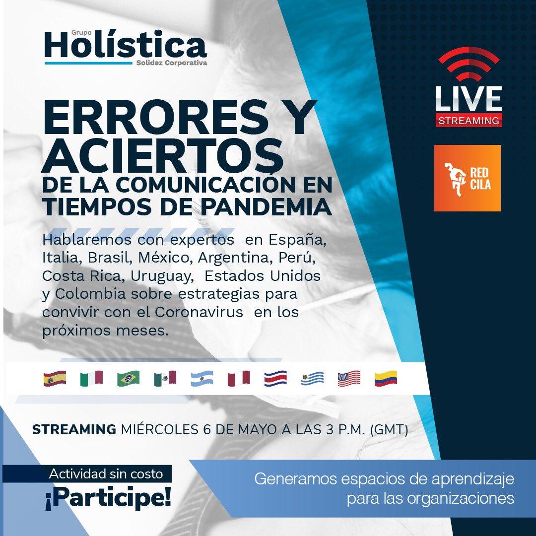 ERRORES Y ACIERTOS DE LA COMUNICACIÓN EN TIEMPOS DE PANDEMIA EN 10 PAÍSES Invitados(as) todos(as) este miércoles 6 de mayo a las 2 p.m. hora Costa Rica. Favor inscribirse gratuitamente en este link: https://t.co/nIZVviANn5 https://t.co/T5nb4UepIj