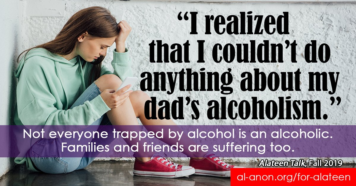 If you hv a parent, friend, or relative w/a drinking problem, you're not alone.  #Alateen meetings @ http://goo.gl/8F4WSB  Chat http://goo.gl/4X17GY   #FamilyDisease #FamilyRecovery #teensupport #COA #alcoholism #addiction #myrecovery #12Step #AA #alcoholicpic.twitter.com/TS6UAvbKB3