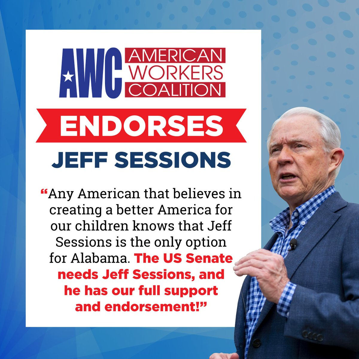 I appreciate the support of the American Workers Coalition! @AmWorkCo