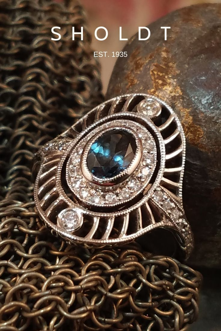 """Vintage inspired sapphire ring in white gold by SHOLDT Jewelers, Seattle WA #sapphire #SapphireRing #vintageIinspired"" https://buff.ly/3dj0GKY pic.twitter.com/zc9qCD1nkJ"