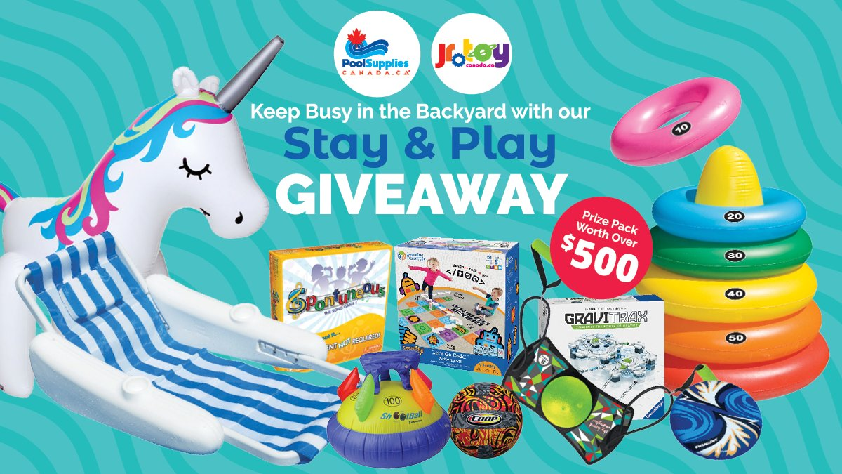 🌟STAY & PLAY GIVEAWAY!🌟  @PoolSuppliesCdn & @JRToyCompany Want to Help Make Your Time at Home Fun! 🏡⛱️  ➡️Enter🔗[https://t.co/gul7wEdYjn] ➡️Like & Retweet with #StayAndPlay   Good Luck!  #ContestAlert #StayHome #Contest  Contest Ends June 6th, 2020 at 4:59 pm EST https://t.co/8AUzZJHtst