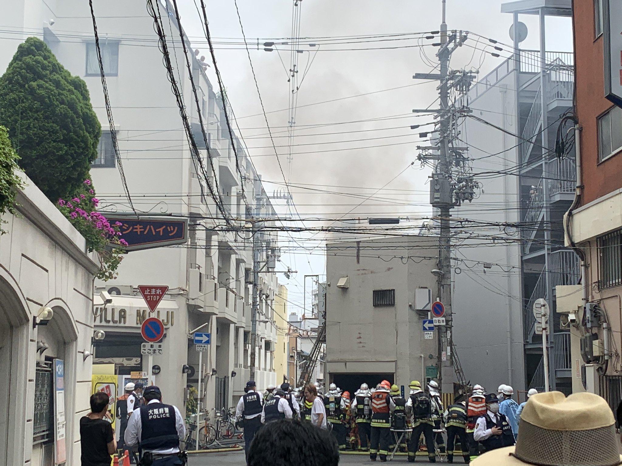 西成区太子で火災が起きている現場の画像