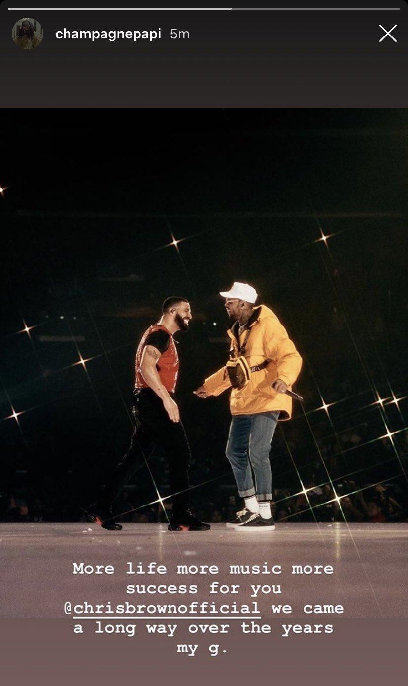 Drake wishing Chris Brown a Happy Birthday. (Via: Instagram story)