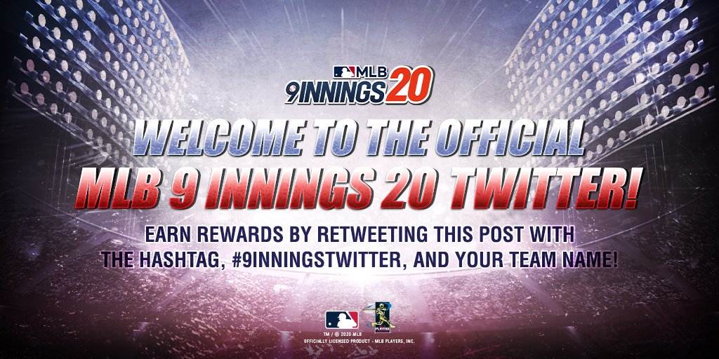 Welcome to the OFFICIAL MLB 9 Innings Twitter! To celebrate, we want to give out a Premium Player Pack to all participants! Retweet with the hashtag, #9Innings20Twitter, and your Team-Name to enter! Giveaway ends at 5/10 11:59PM ET Event Details: https://t.co/1U4tcW1hKJ https://t.co/ApEMZ4JNz6