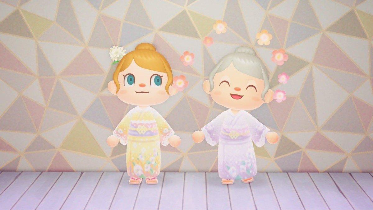 お花の浴衣を作ってみたよ🌼紫陽花が咲く時期になったらまた良い写真が撮れそう✨マイルで交換できるうちわを持ってもいいかも😆❣️#あつまれどうぶつの森 #animalcrossing #どうぶつの森 #acnh#マイデザイン