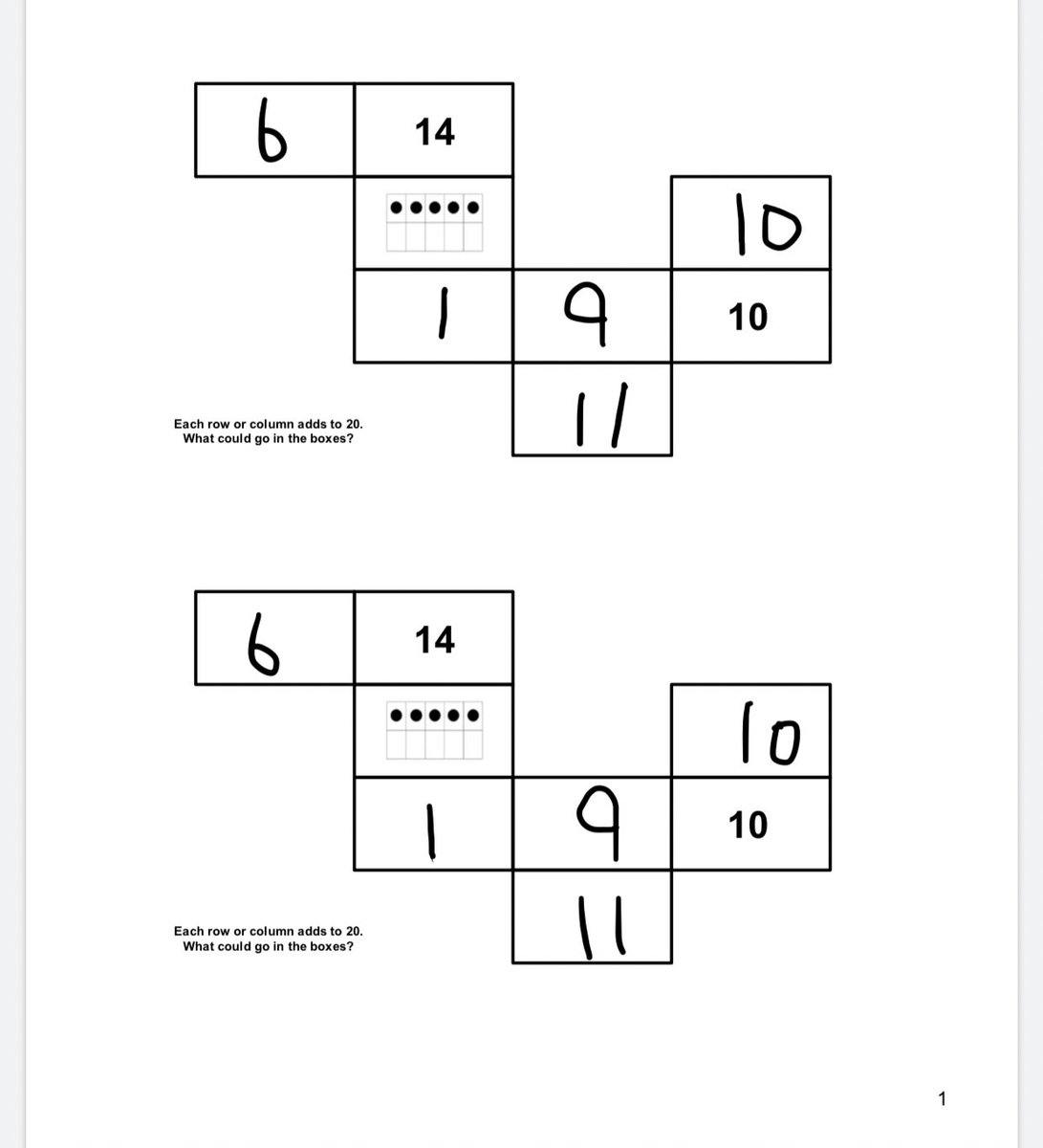 Loved the number puzzles from @MrsUnsworthWTT. It's a great, engaging math puzzle for students that works well for distance learning. Students complete online or write them out. They also came up with their own number puzzles -so friends can try. #math #earlyears #numberpuzzles pic.twitter.com/V5bBNi4Q5Y