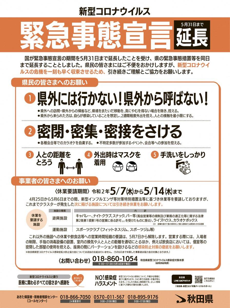 県 ツイッター 秋田 コロナ