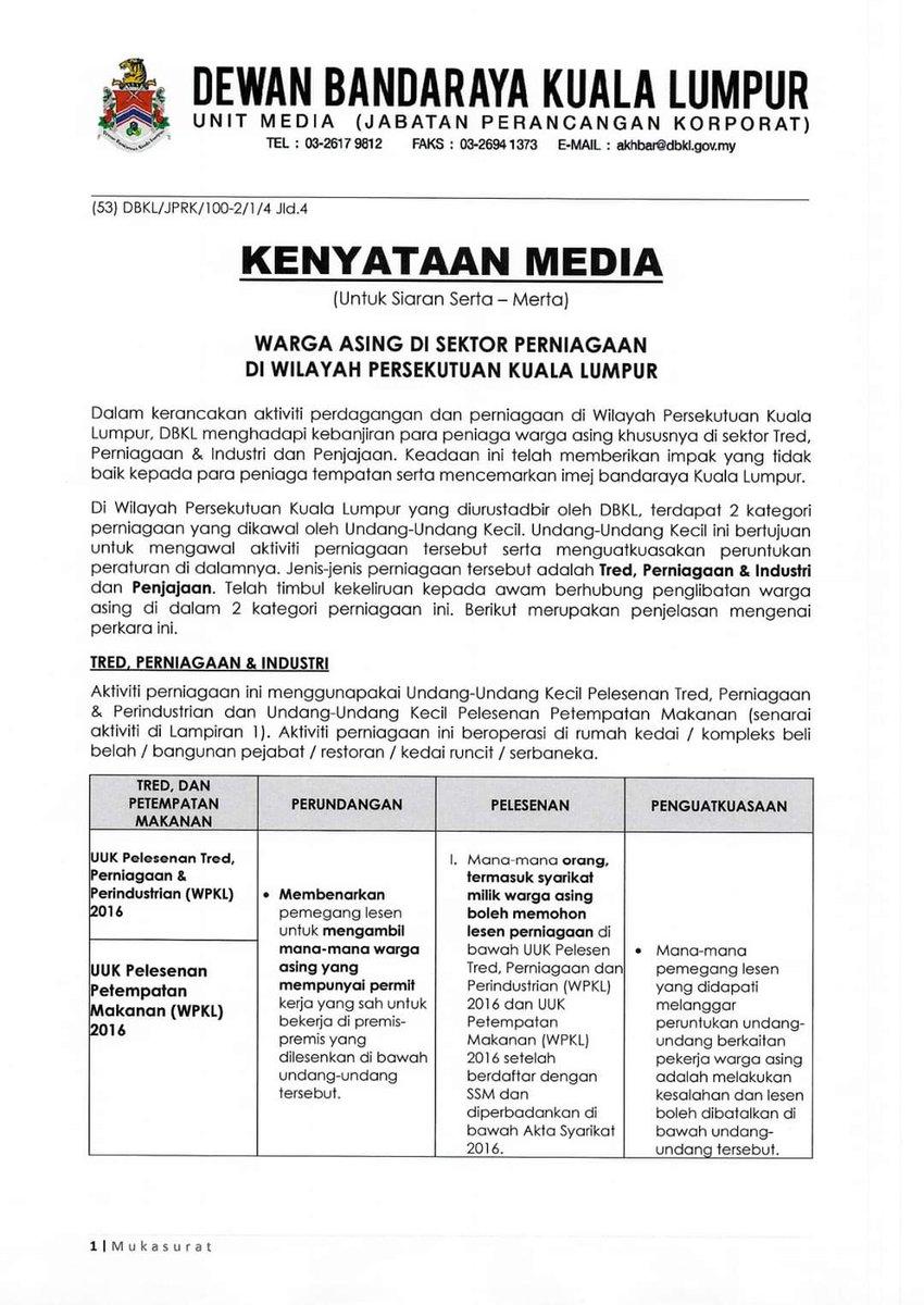 Informasi Wilayah No Twitter Kenyataan Media Dbkl Warga Asing Di Sektor Perniagaan Di Wp Kuala Lumpur Penjelasan Mengenai Keberadaan Mereka Warga Asing Di Dalam Industri Ini Mengikut Undang Undang Kecil Yang