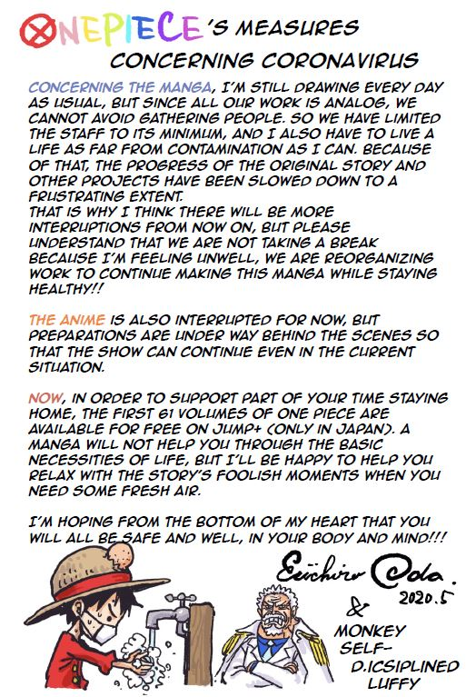 We received a new message from Oda-san. Hoping you continue to enjoy ONE PIECE! https://t.co/LSvh4a9v0P